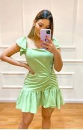 Vestido Blogueira Drapeado e Manguinha Solta- Frete Grátis para Fortaleza