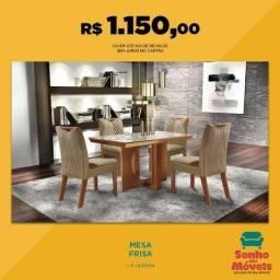 Mesa Frisa de Jantar C/ 4 cadeiras 100% MDF Direto do fabricante pague na entreg PEça já