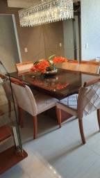 Título do anúncio: Mesa com tampo de vidro + 06 cadeiras acolchoadas