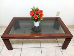 Título do anúncio: Mesa de centro retangular - madeira e vidro
