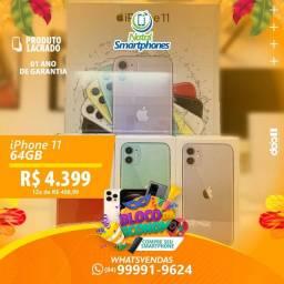 IPHONE 11 4G, 64GB - LACRADO (1) ANO DE GARANTIA - MUNDIAL APPLE - PRETO/BRANCO/VERDE/RED