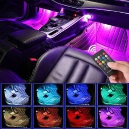 Led rgb iluminação carro interno 12v com controle rítmico