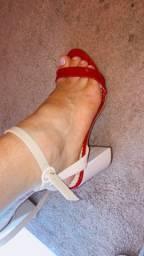 Título do anúncio: salto Gabriela vermelho e nude