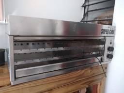 Churrasqueira de espetinhos giratória a gás marca super chef