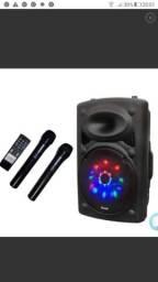 "Caixa amplificada 15 "" usb fm bluetooth mic leds controle"