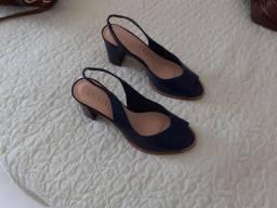 Sandalia couro azul marinho