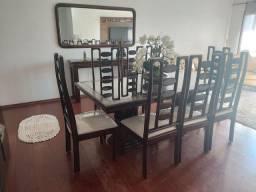 Mesa 8 Cadeira de Mogno Puro +<br>Cristaleira de Mogno<br>Amparador de Mogno + espelho