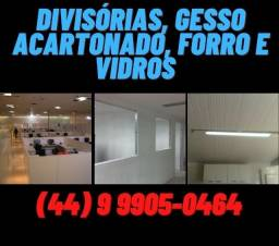Divisórias, Drywall, Forros e Vidros