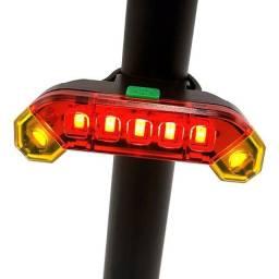 Título do anúncio: Farol Lanterna Traseira Bicicleta Sinalizador Led + Cabo Usb Vermelho e Amarelo