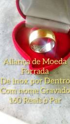 Título do anúncio: Aliança de moeda Forrada de Inox Por Dentro