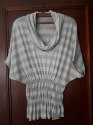 Blusa acinturada c/ elastado, malha