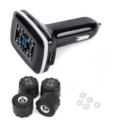 Kit Sensor Pressão Tpms Temperatura Pneu Carro Wireless Usb