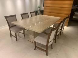 Mesa de Jantar Mármore Travertino ( Brinde 6 Cadeiras )