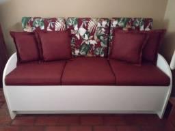 Sofá-baú 3 lugares, tecido impermeável, novíssimo, sem uso!