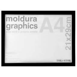 GRAPHICS KIT MOLDURA PRETA COM VIDRO A4 21 CM X 29 CM