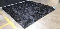 Promoção!! Tapete de couro patchwork preto