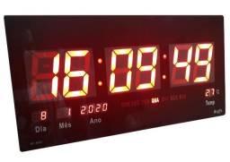 Relógios De Parede Led Vermelho Digital Gigante 46cm X 23cm