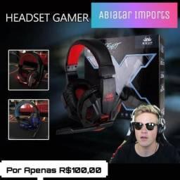 Headset Gamer Led Com Microfone Super Bass HD Knup KP