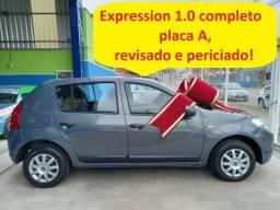 Título do anúncio: Renault Sandero Expression 1.0 completo, placa A (2.900 ent + 48x de 799,00)