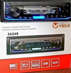 Radio automotivo com bluetooth Vijodi 26268 60wx4 extra bass usb aux