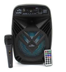 Caixa de Som Amplificada Portátil com Bluetooth Rádio Fm e Microfone