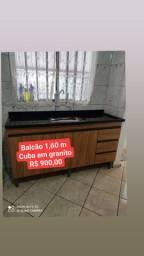 BALCÃO DE PIA 1,60 M + CUBA EM GRANITO NOVOS
