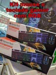 Título do anúncio: Kit Mouse e Teclado Gamer Semi Mecânico com iluminação RGB