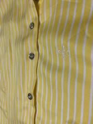 Camisa Dudalina Amarela Listrada, 36, Botões Swarovski
