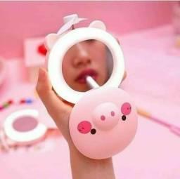 Espelho Porquinho para Maquiagem com Luz de LED e Ventilador