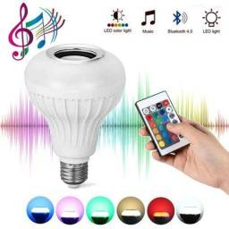 Lampada LED 7w RGB Caixa Som Bluetooth Controle 2 Em 1 MP3