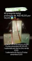 Kit presente 1 hidratante corporal + 2 sabonetes barra