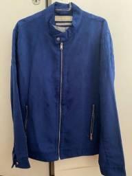Jaqueta Suede Azul Zara Man - tam G