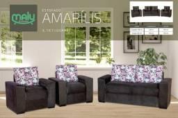 Título do anúncio: Conjunto Sofa com 2 Pufes