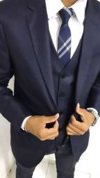 Terno luxo - poliviscose encerado marinho - terno Costume - slim corte italiano