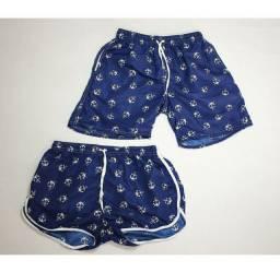 Kit Conjunto Shorts Feminino e Bermuda Masculina