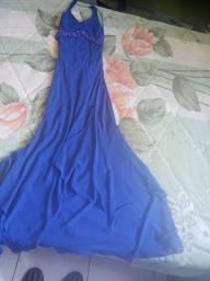 Vestido lomgo azul tipo sereia tamanho P
