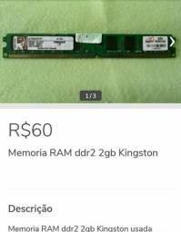 Memória Ram DDR2 Kingston 1333ghz