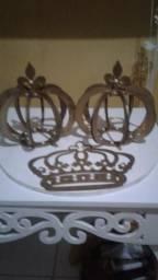 Kit coroa com 3 peças em mdf para decoração e aceito cartão