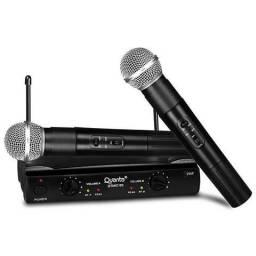 Par Microfone Sem Fio Quanta Com Receptor - Qtmic103 - Lacrado - Pronta Entrega