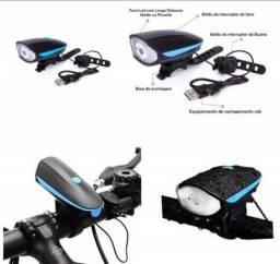 Lanternas com buzinas recarregáveis para bicicletas