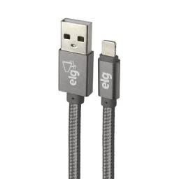 Cabo Lightning iPhone/Apple Flat Tecido Trançado Nylon Reforçado 1M Cinza ELG