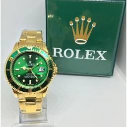 Relógio Masculino de Luxo Rolex Submariner Dourado e Verde 1 linha
