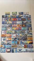 Cartões telefônicos relíquia R$ 1 a unidade.