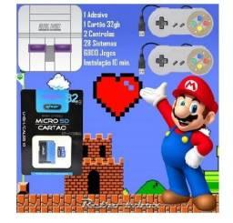 Kit Retrô+2 controles+ cartao de memoria 32gb+ 7500 jogos