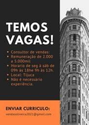 VAGAS PARA CONSULTOR DE VENDAS!