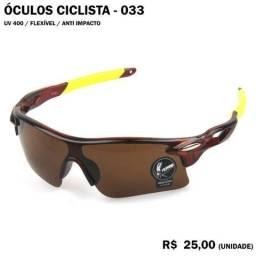 Óculos de Ciclismo 33 (Marrom com Armação Marrom e Amarela)