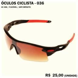 Óculos de Ciclismo 36 (Marrom com Armação Preta e Vermelha) Proteção UV