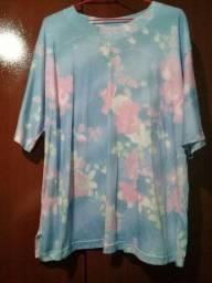 Camiseta feminina em algodão tamanho G