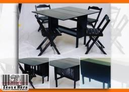 Novidade! Conjunto Aparador Mesa 120x100 Bar e Rest. em Madeira Maciça - Preço Imbatível