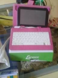 Tablet lenox com capa e teclado
